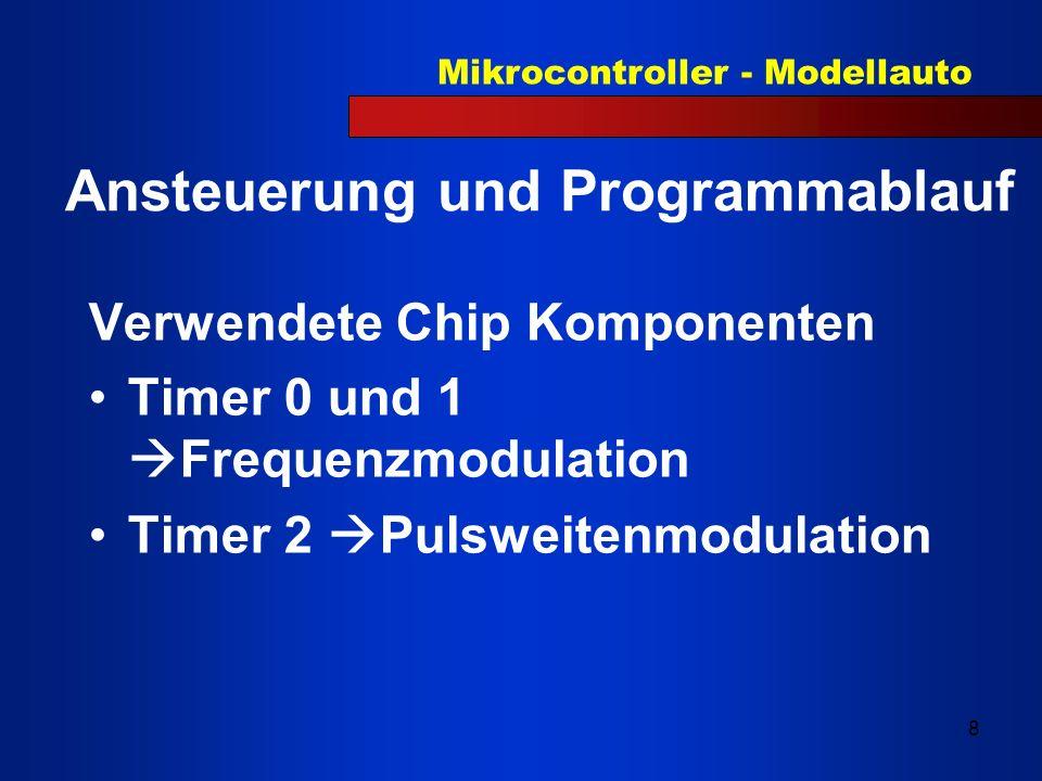 Mikrocontroller - Modellauto 9 Timer 0 - P3.4(Senderdiode hinten 33 kHz) Timer 1 - P3.5(Senderdiode vorne 40 kHz) Timer 2 - P1.1 Compare Register PWM, 3 Stellungen: Periode 20 ms PWM Rechts --> 1 ms PWM Mitte --> 1,2 ms PWM Links --> 1,4 ms Relais 1 -> P3.0 (Spannungsversorgung für Relais 2, 0 = EIN) Relais 2 -> P3.1 (1 = vorwärts, 0 = rückwärts) IR-Empfänger HL -> P1.0(33 kHz) IR-Empfänger HR -> P1.2(33 kHz) IR-Empfänger VL -> P1.3(40 kHz) IR-Empfänger VR -> P1.4(40 kHz)