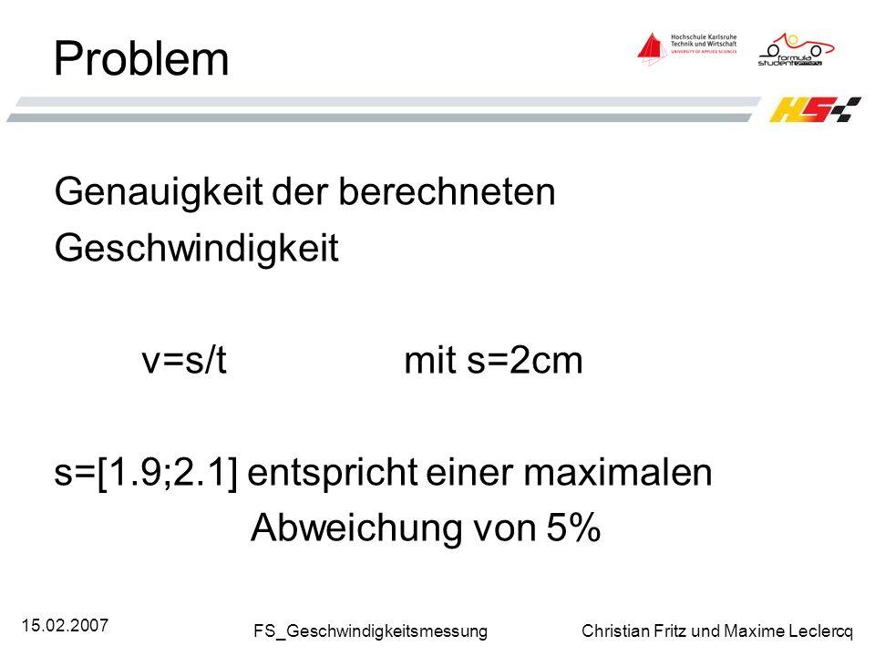FS_Geschwindigkeitsmessung Christian Fritz und Maxime Leclercq 15.02.2007 Problem Genauigkeit der berechneten Geschwindigkeit v=s/t mit s=2cm s=[1.9;2