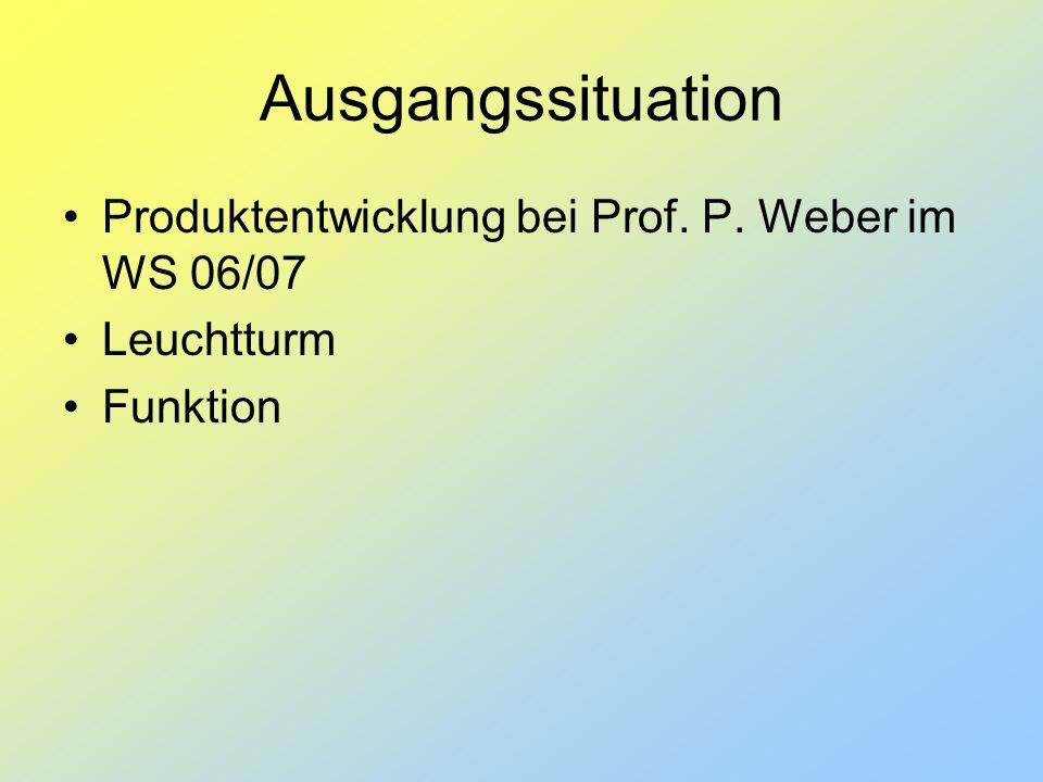 Ausgangssituation Produktentwicklung bei Prof. P. Weber im WS 06/07 Leuchtturm Funktion