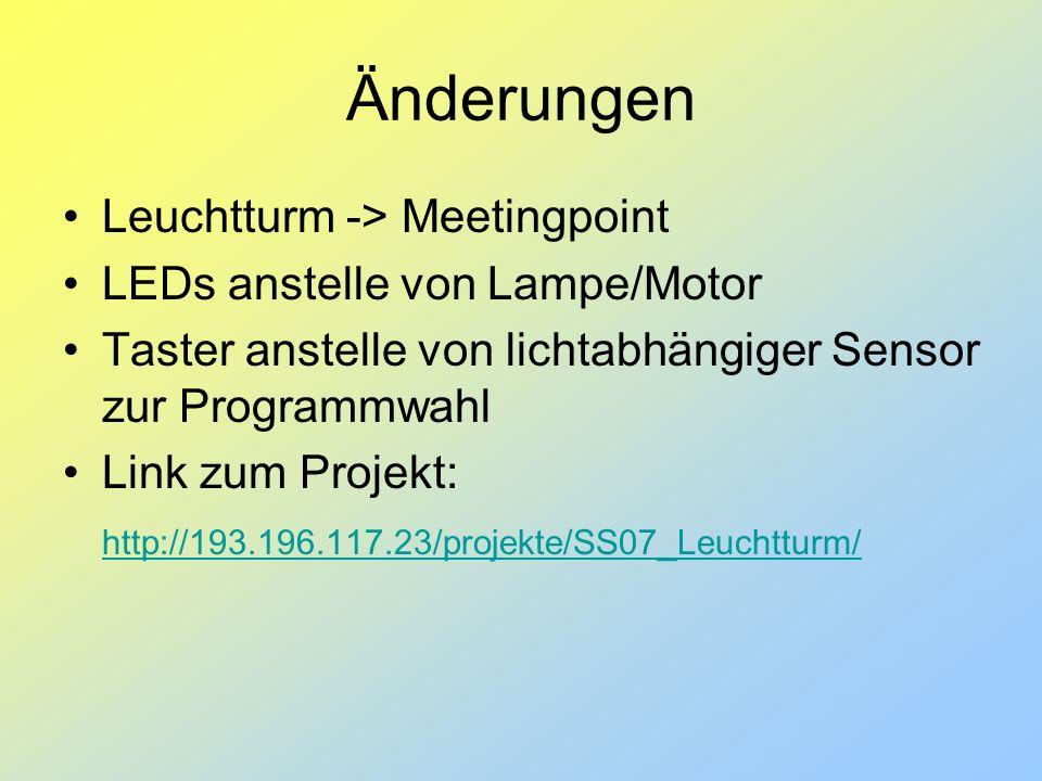 Änderungen Leuchtturm -> Meetingpoint LEDs anstelle von Lampe/Motor Taster anstelle von lichtabhängiger Sensor zur Programmwahl Link zum Projekt: http://193.196.117.23/projekte/SS07_Leuchtturm/
