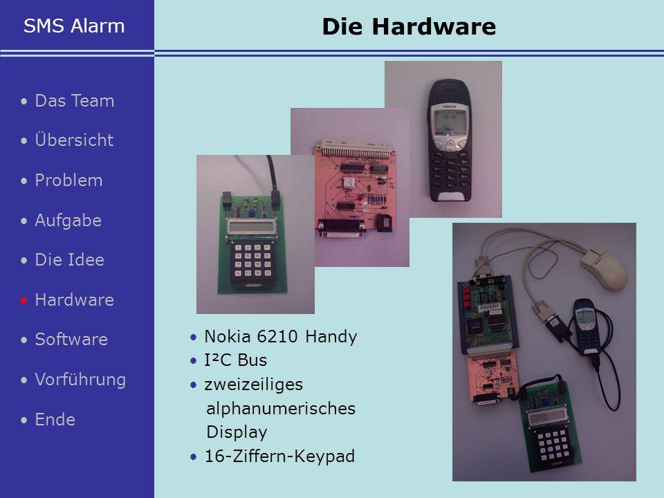 Nokia 6210 Handy I²C Bus zweizeiliges alphanumerisches Display 16-Ziffern-Keypad SMS Alarm Das Team Übersicht Problem Aufgabe Die Idee Hardware Softwa