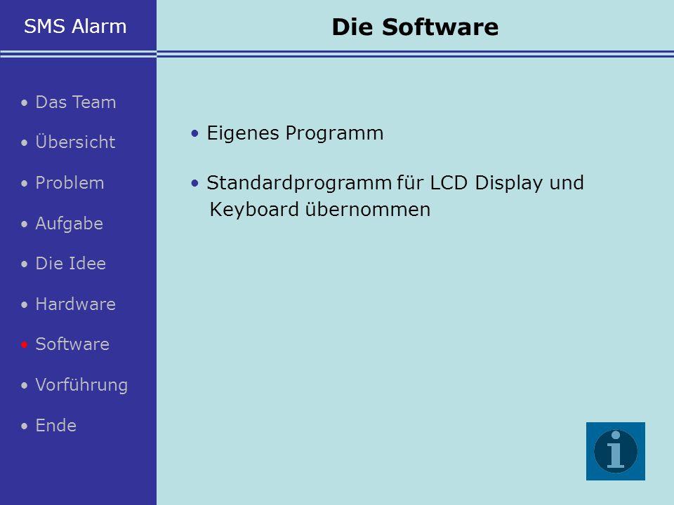 Eigenes Programm Standardprogramm für LCD Display und Keyboard übernommen SMS Alarm Das Team Übersicht Problem Aufgabe Die Idee Hardware Software Vorf