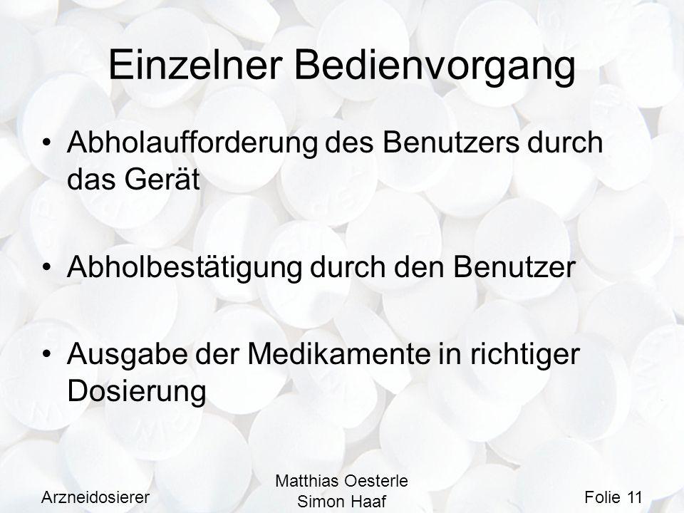 Arzneidosierer Matthias Oesterle Simon Haaf Folie 11 Einzelner Bedienvorgang Abholaufforderung des Benutzers durch das Gerät Abholbestätigung durch de