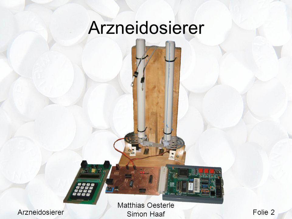 Arzneidosierer Matthias Oesterle Simon Haaf Folie 3 Problemstellung Dosierung und Einnahme von Medikamente kann bei älteren Menschen ein Problem darstellen.