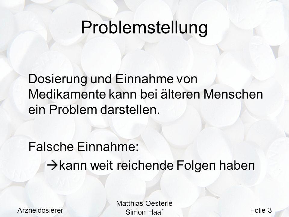 Arzneidosierer Matthias Oesterle Simon Haaf Folie 4 Lösungsmöglichkeit Vorheriges Einsortieren der Medikamente in Register für bestimmte Wochentage und Uhrzeiten.