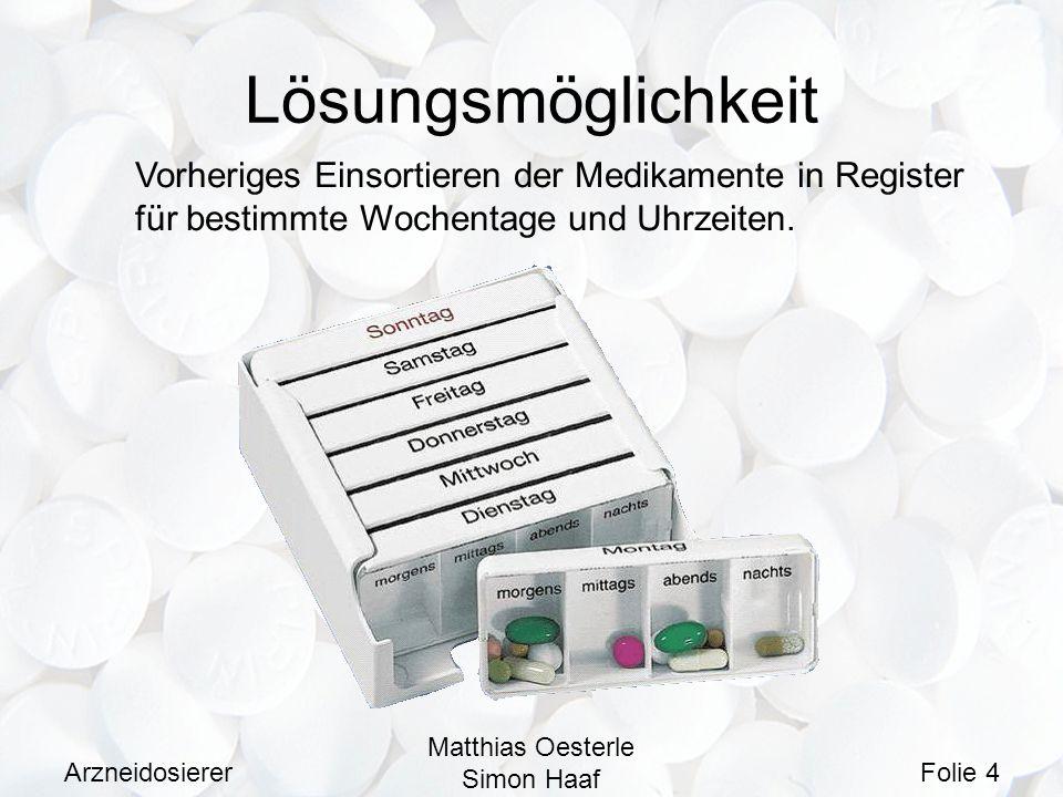 Arzneidosierer Matthias Oesterle Simon Haaf Folie 4 Lösungsmöglichkeit Vorheriges Einsortieren der Medikamente in Register für bestimmte Wochentage un