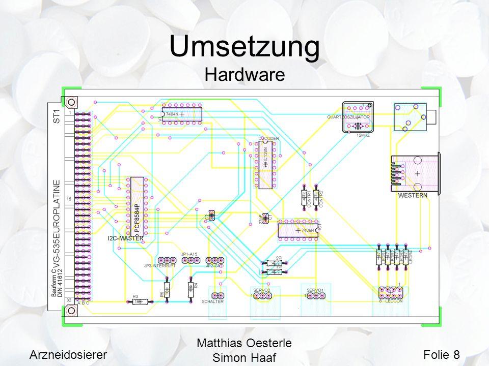 Arzneidosierer Matthias Oesterle Simon Haaf Folie 9 Umsetzung Software