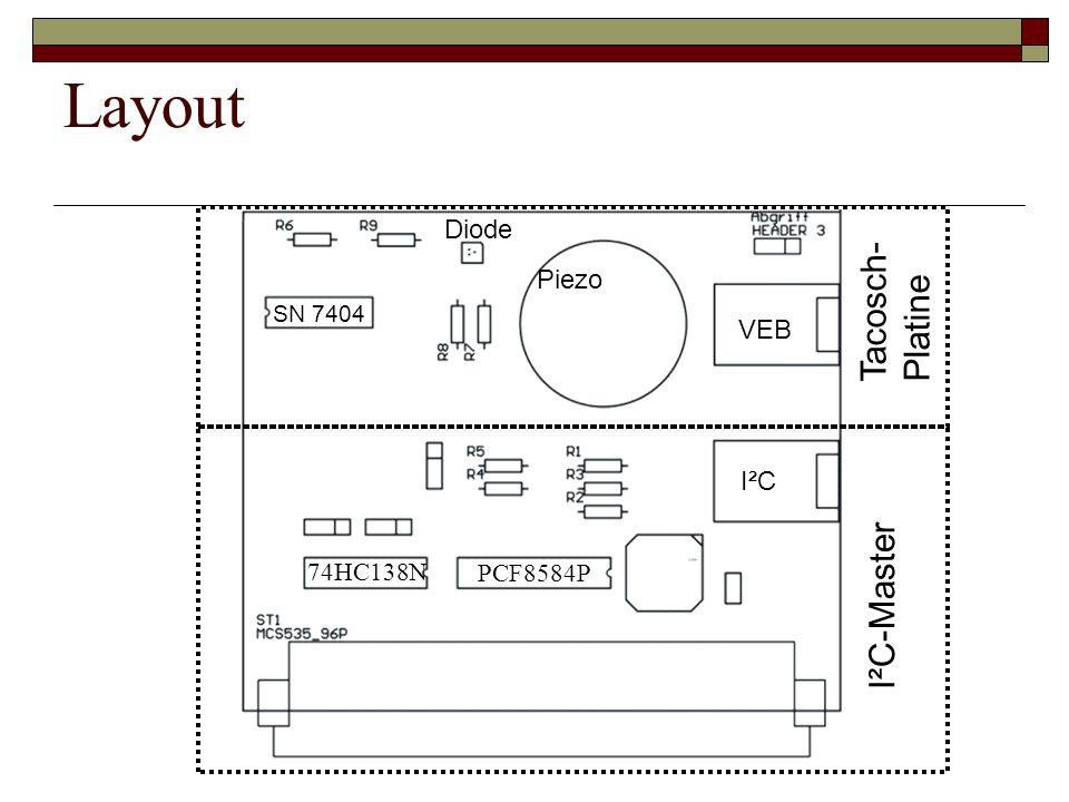 Layout SN 7404 Piezo I²C VEB Diode I²C-Master Tacosch- Platine 74HC138N PCF8584P