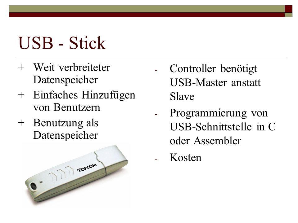 USB - Stick + Weit verbreiteter Datenspeicher +Einfaches Hinzufügen von Benutzern +Benutzung als Datenspeicher - Controller benötigt USB-Master anstatt Slave - Programmierung von USB-Schnittstelle in C oder Assembler - Kosten