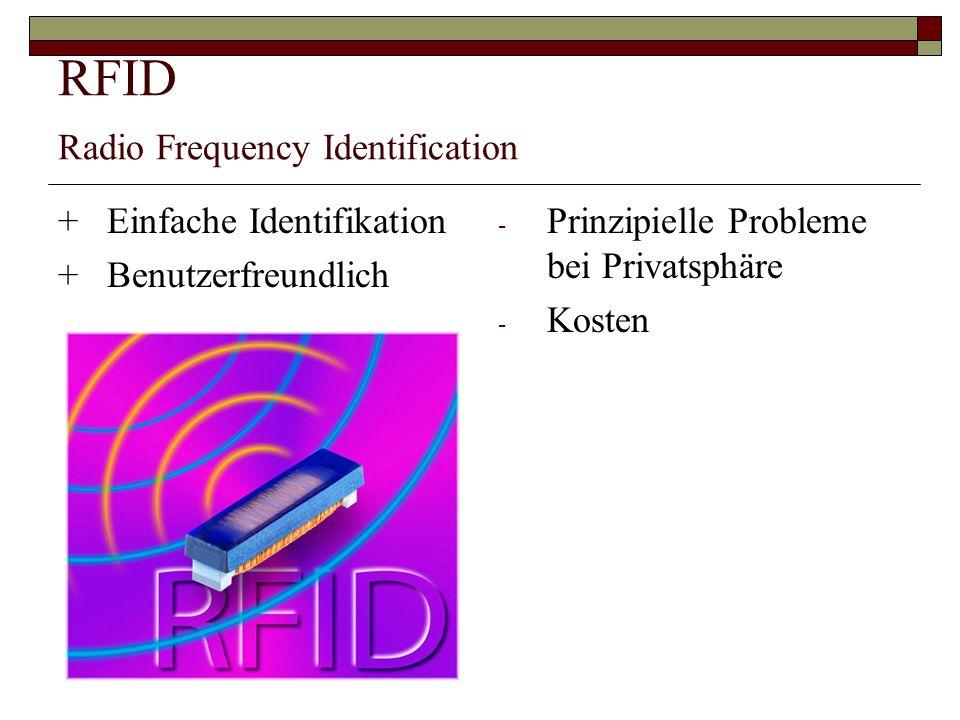 RFID Radio Frequency Identification +Einfache Identifikation +Benutzerfreundlich - Prinzipielle Probleme bei Privatsphäre - Kosten