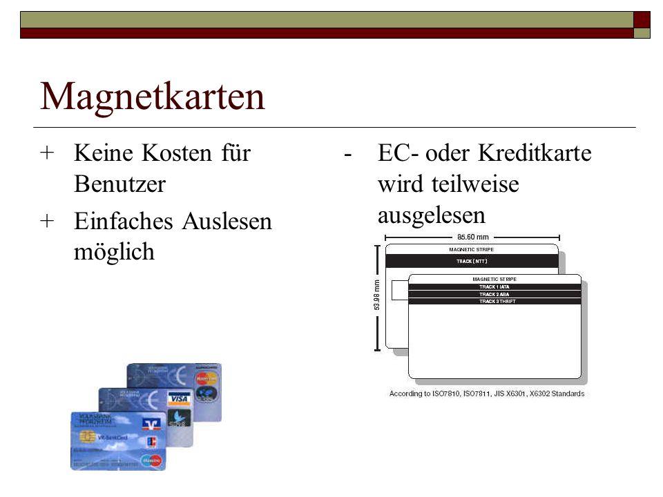 Magnetkarten +Keine Kosten für Benutzer +Einfaches Auslesen möglich -EC- oder Kreditkarte wird teilweise ausgelesen