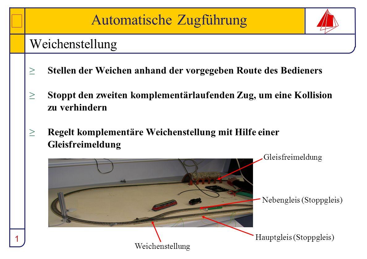 1 Automatische Zugführung Weichenstellung Stellen der Weichen anhand der vorgegeben Route des Bedieners Stoppt den zweiten komplementärlaufenden Zug,