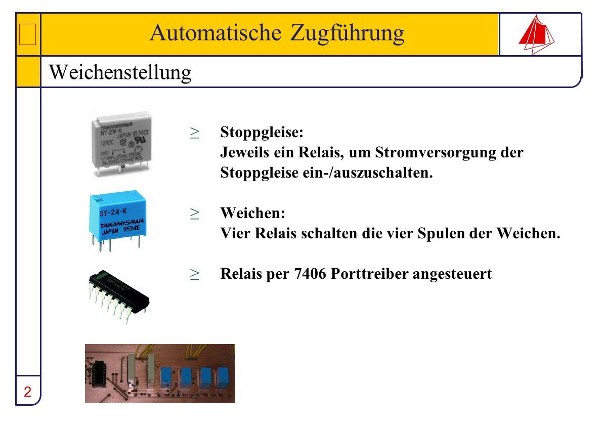 2 Automatische Zugführung Weichenstellung Stoppgleise: Jeweils ein Relais, um Stromversorgung der Stoppgleise ein-/auszuschalten. Weichen: Vier Relais