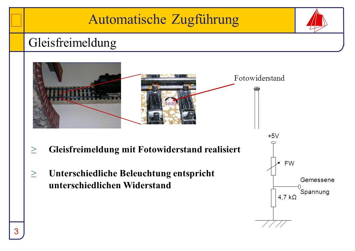 3 Automatische Zugführung Gleisfreimeldung +5V 4,7 kΩ FW Gemessene Spannung Fotowiderstand Gleisfreimeldung mit Fotowiderstand realisiert Unterschiedl