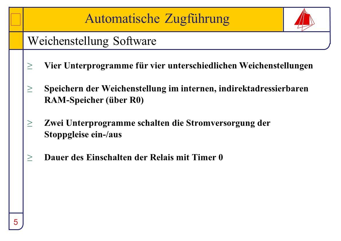 5 Automatische Zugführung Weichenstellung Software Vier Unterprogramme für vier unterschiedlichen Weichenstellungen Speichern der Weichenstellung im i