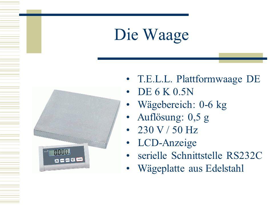 Die Waage T.E.L.L. Plattformwaage DE DE 6 K 0.5N Wägebereich: 0-6 kg Auflösung: 0,5 g 230 V / 50 Hz LCD-Anzeige serielle Schnittstelle RS232C Wägeplat