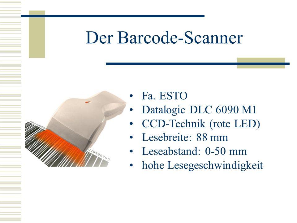 Der Barcode-Scanner Fa. ESTO Datalogic DLC 6090 M1 CCD-Technik (rote LED) Lesebreite: 88 mm Leseabstand: 0-50 mm hohe Lesegeschwindigkeit