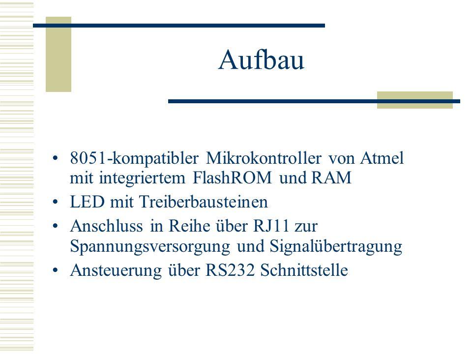 Aufbau 8051-kompatibler Mikrokontroller von Atmel mit integriertem FlashROM und RAM LED mit Treiberbausteinen Anschluss in Reihe über RJ11 zur Spannun