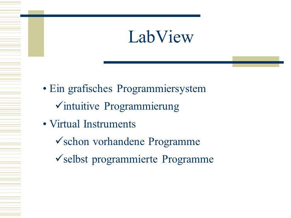 LabView Ein grafisches Programmiersystem intuitive Programmierung Virtual Instruments schon vorhandene Programme selbst programmierte Programme