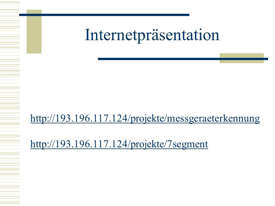 Internetpräsentation http://193.196.117.124/projekte/messgeraeterkennung http://193.196.117.124/projekte/7segment