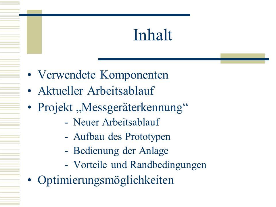 Inhalt Verwendete Komponenten Aktueller Arbeitsablauf Projekt Messgeräterkennung -Neuer Arbeitsablauf -Aufbau des Prototypen -Bedienung der Anlage -Vo