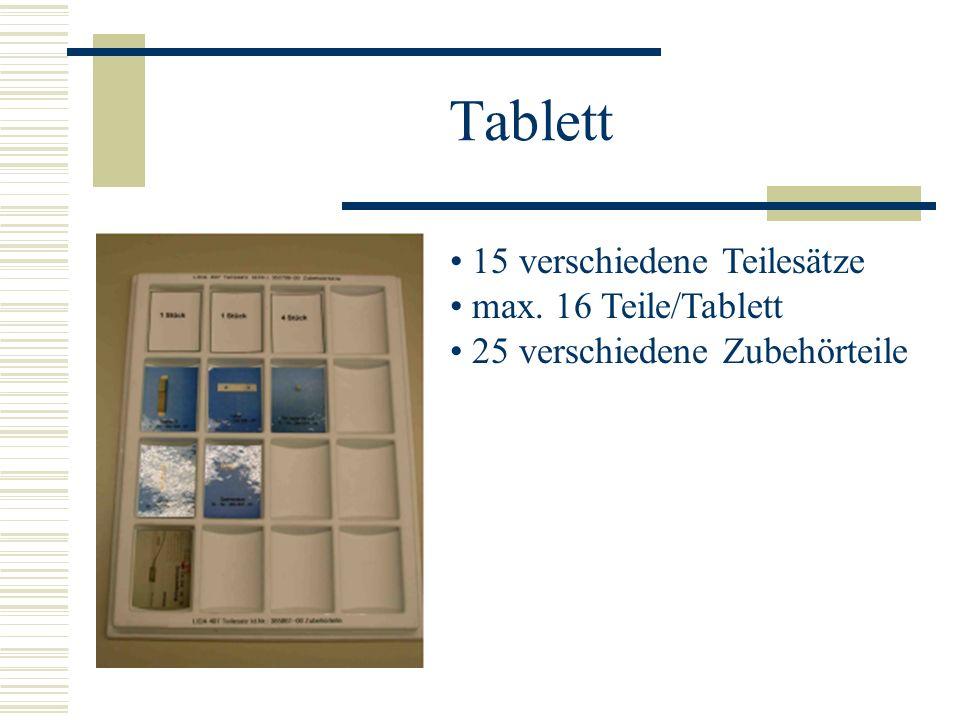 Tablett 15 verschiedene Teilesätze max. 16 Teile/Tablett 25 verschiedene Zubehörteile