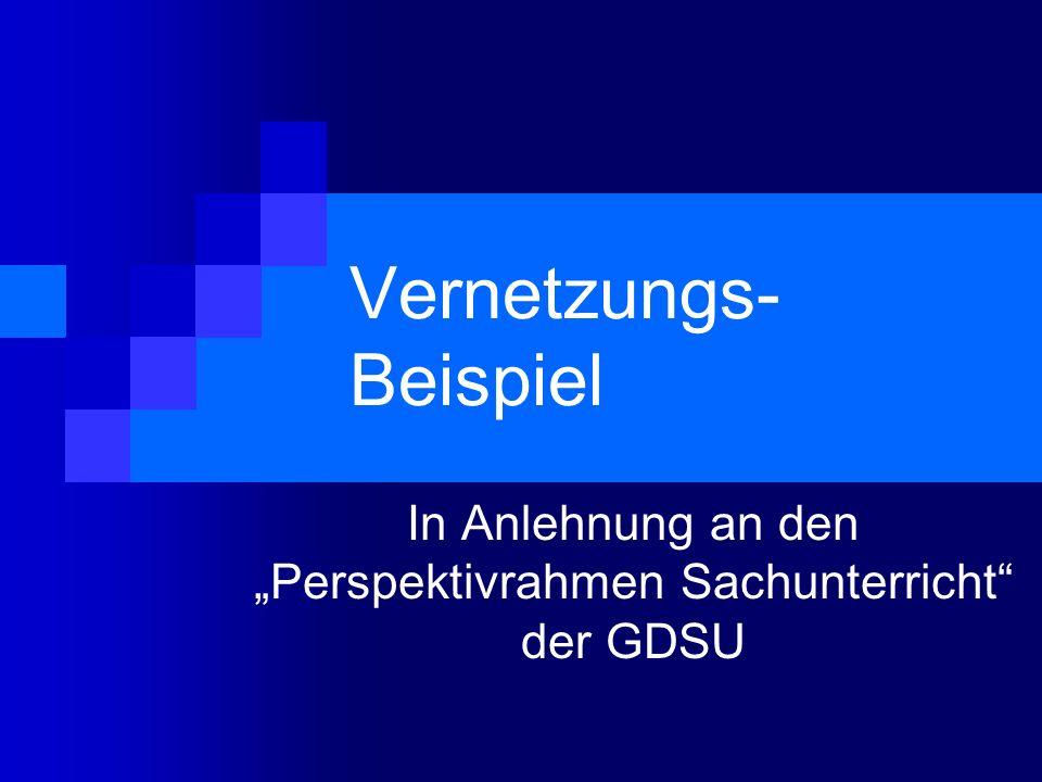 Vernetzungs- Beispiel In Anlehnung an den Perspektivrahmen Sachunterricht der GDSU