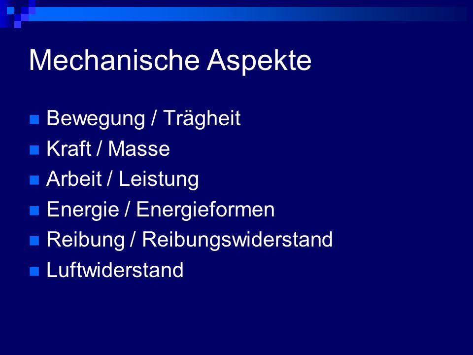 Mechanische Aspekte Bewegung / Trägheit Kraft / Masse Arbeit / Leistung Energie / Energieformen Reibung / Reibungswiderstand Luftwiderstand