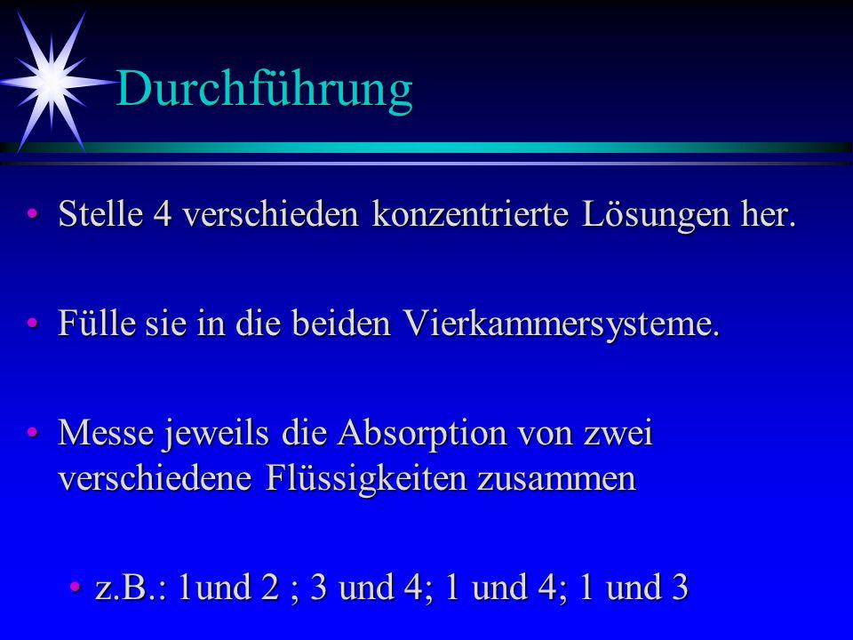 Auswertung Durch verschiedene Stellungen des Systems zur Lampe ergibt sich ein lineares Gleichungssystem.Durch verschiedene Stellungen des Systems zur Lampe ergibt sich ein lineares Gleichungssystem.