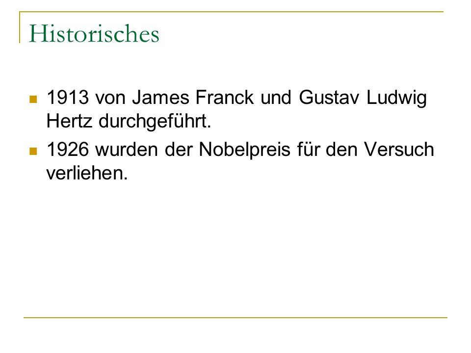 Historisches 1913 von James Franck und Gustav Ludwig Hertz durchgeführt. 1926 wurden der Nobelpreis für den Versuch verliehen.