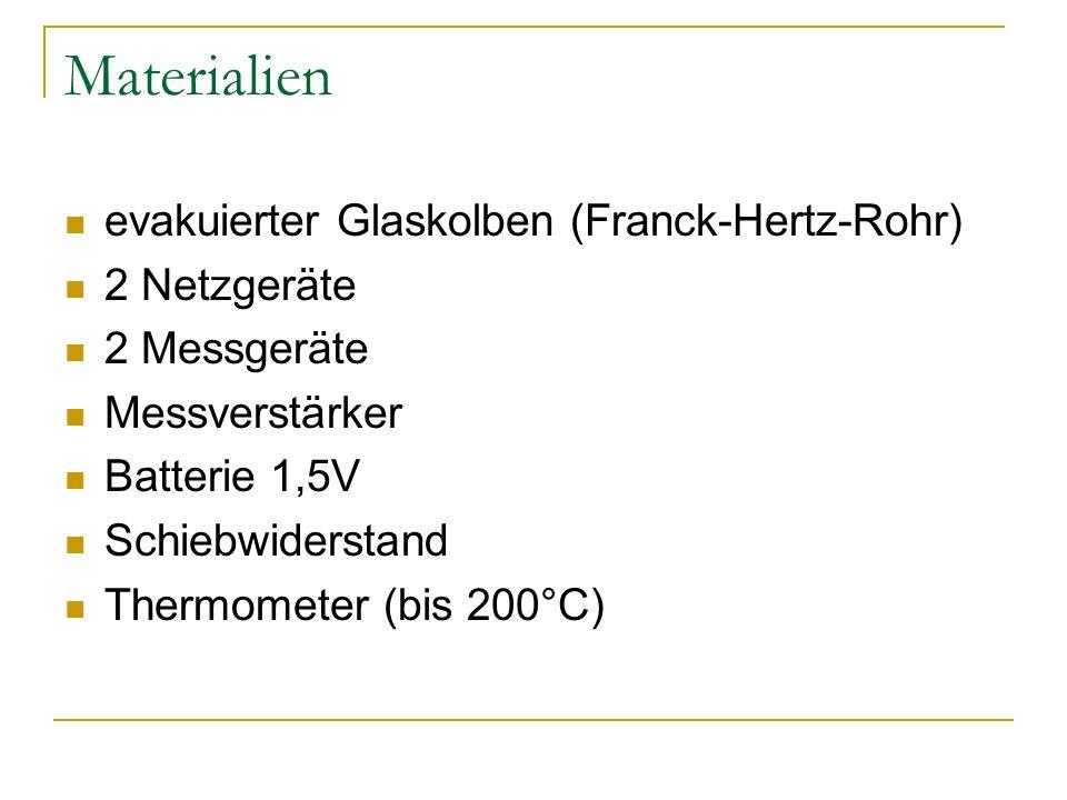 Materialien evakuierter Glaskolben (Franck-Hertz-Rohr) 2 Netzgeräte 2 Messgeräte Messverstärker Batterie 1,5V Schiebwiderstand Thermometer (bis 200°C)