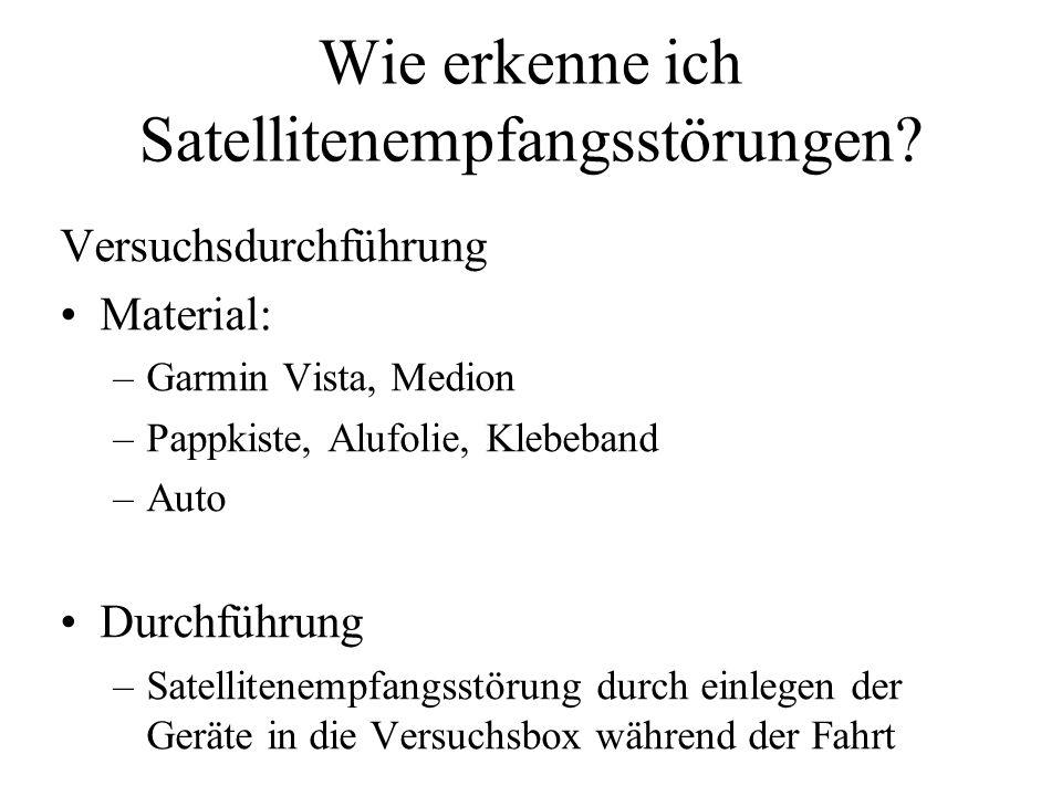 Wie erkenne ich Satellitenempfangsstörungen? Versuchsdurchführung Material: –Garmin Vista, Medion –Pappkiste, Alufolie, Klebeband –Auto Durchführung –