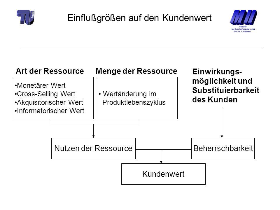 Einflußgrößen auf den Kundenwert Monetärer Wert Cross-Selling Wert Akquisitorischer Wert Informatorischer Wert Art der RessourceMenge der Ressource We