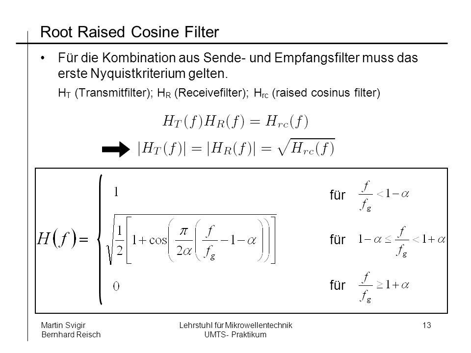 Lehrstuhl für Mikrowellentechnik UMTS- Praktikum Martin Svigir Bernhard Reisch 13 Root Raised Cosine Filter Für die Kombination aus Sende- und Empfangsfilter muss das erste Nyquistkriterium gelten.