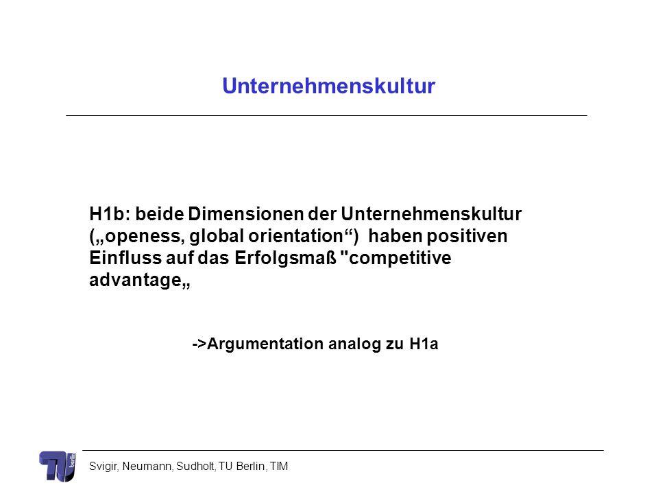 Svigir, Neumann, Sudholt, TU Berlin, TIM Unternehmenskultur H1b: beide Dimensionen der Unternehmenskultur (openess, global orientation) haben positive