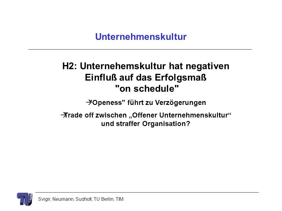 Svigir, Neumann, Sudholt, TU Berlin, TIM Unternehmenskultur H2: Unternehemskultur hat negativen Einfluß auf das Erfolgsmaß