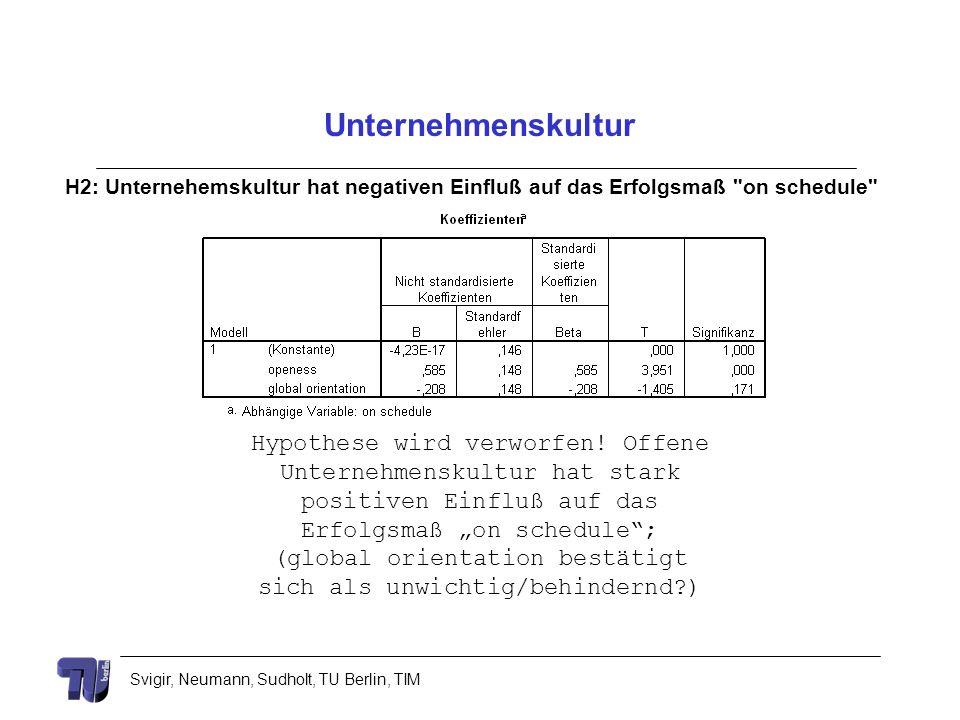 Svigir, Neumann, Sudholt, TU Berlin, TIM Unternehmenskultur Hypothese wird verworfen! Offene Unternehmenskultur hat stark positiven Einfluß auf das Er