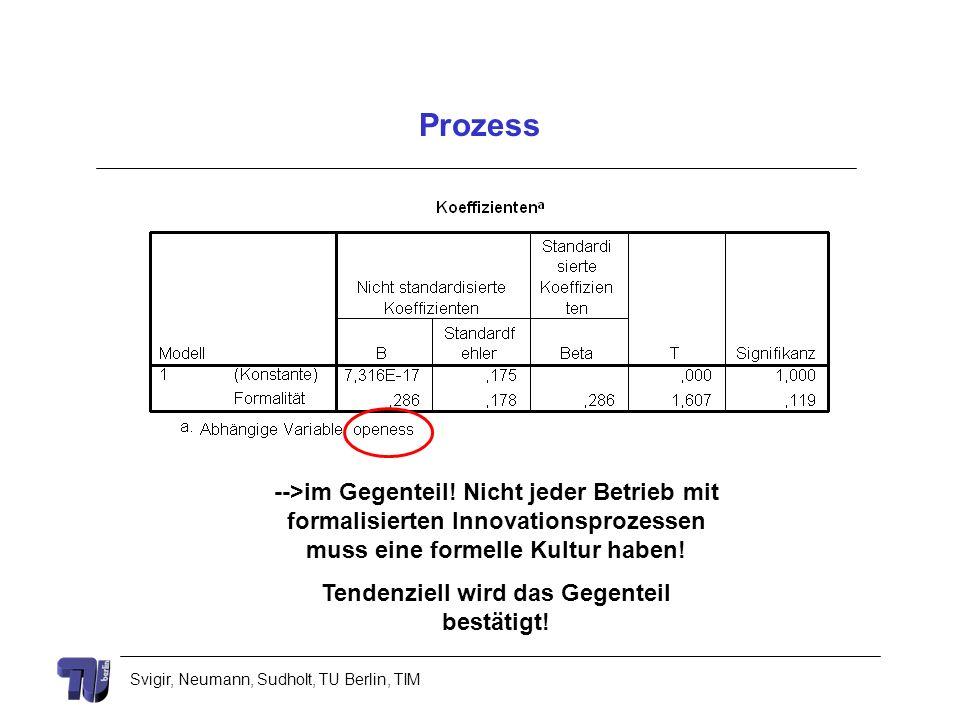 Svigir, Neumann, Sudholt, TU Berlin, TIM Prozess -->im Gegenteil! Nicht jeder Betrieb mit formalisierten Innovationsprozessen muss eine formelle Kultu