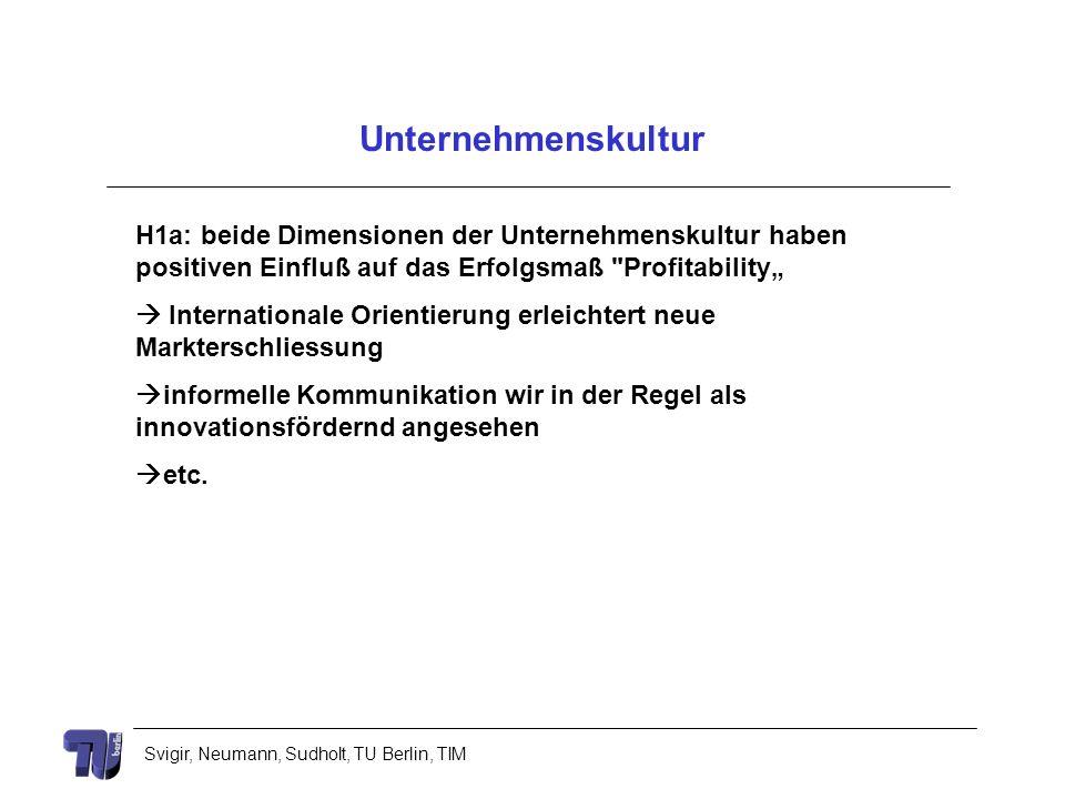 Svigir, Neumann, Sudholt, TU Berlin, TIM Unternehmenskultur H1a: beide Dimensionen der Unternehmenskultur haben positiven Einfluß auf das Erfolgsmaß