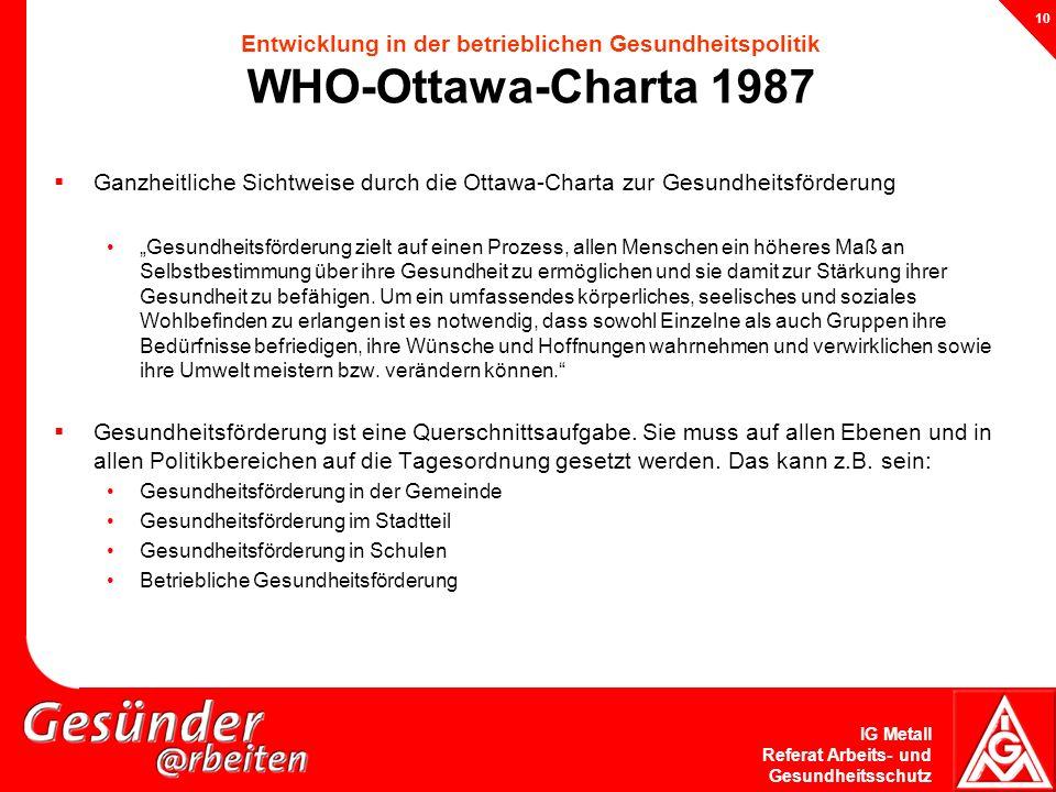 IG Metall Referat Arbeits- und Gesundheitsschutz 10 Entwicklung in der betrieblichen Gesundheitspolitik WHO-Ottawa-Charta 1987 Ganzheitliche Sichtweis