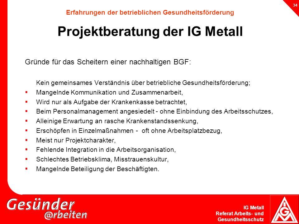 IG Metall Referat Arbeits- und Gesundheitsschutz 34 Erfahrungen der betrieblichen Gesundheitsförderung Projektberatung der IG Metall Gründe für das Sc