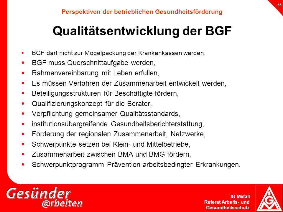 IG Metall Referat Arbeits- und Gesundheitsschutz 35 Perspektiven der betrieblichen Gesundheitsförderung Qualitätsentwicklung der BGF BGF darf nicht zu