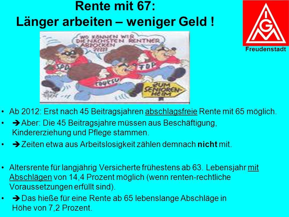 Rentenreform: Ergebnis der Koalitionsarbeits- gruppe Rente vom 23.10.2006 Kernprojekt: Anhebung der Regelaltersgrenze von 65 auf 67 Ab 2012 wird das R