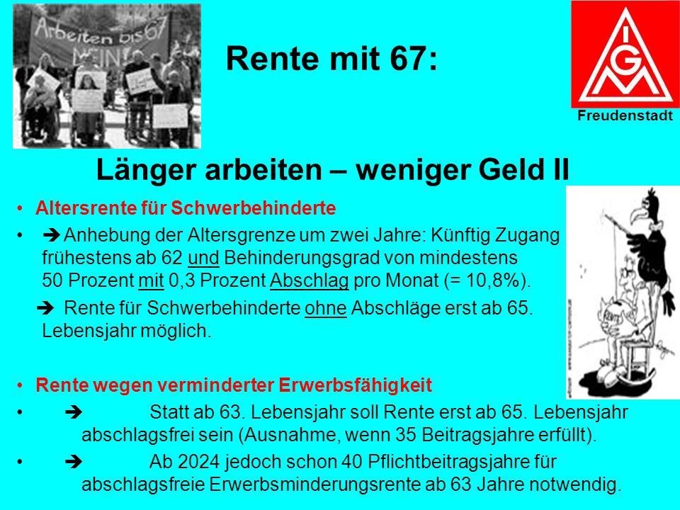 Rente mit 67: Länger arbeiten – weniger Geld ! Ab 2012: Erst nach 45 Beitragsjahren abschlagsfreie Rente mit 65 möglich. Aber: Die 45 Beitragsjahre mü