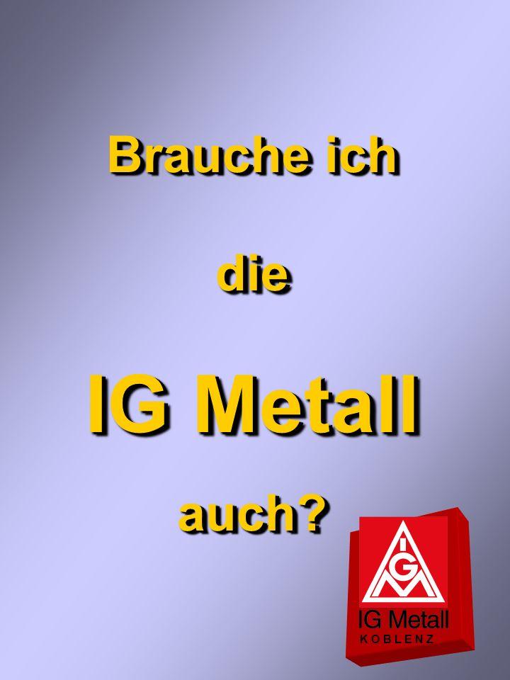 Das bietet die IG Metall... K O B L E N Z Schutz- und Gestaltungsfunktion derGewerkschaft Voraussetzungen Viele Mitglieder hoherOrganisationsgrad Gute
