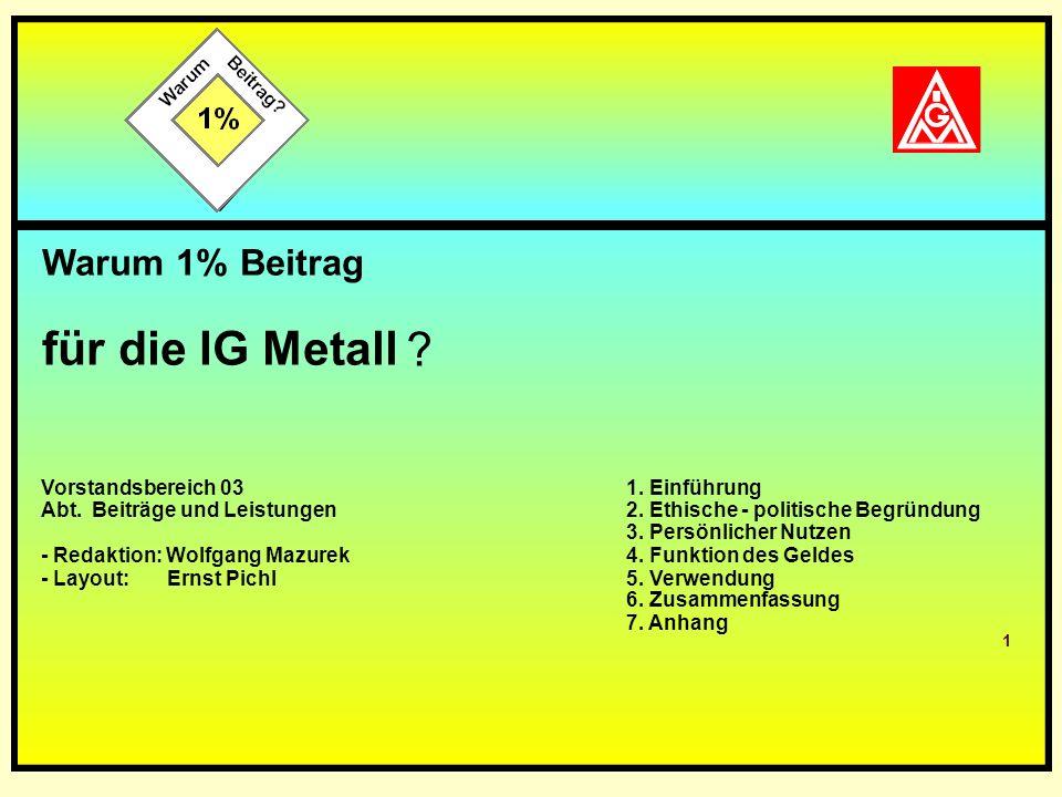 1 Teil 1: Warum 1 % Beitrag für die IG Metall Warum 1% Beitrag für die IG Metall ? Vorstandsbereich 03 Abt. Beiträge und Leistungen - Redaktion: Wolfg