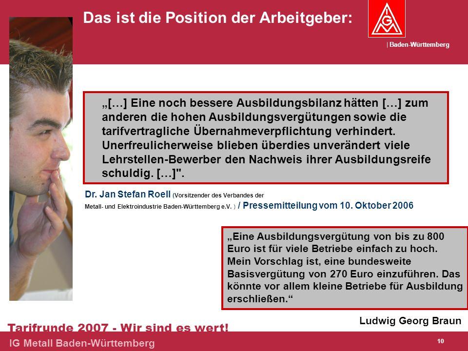 Baden-Württemberg Tarifrunde 2007 - Wir sind es wert! IG Metall Baden-Württemberg 10 Das ist die Position der Arbeitgeber: Ludwig Georg Braun Eine Aus