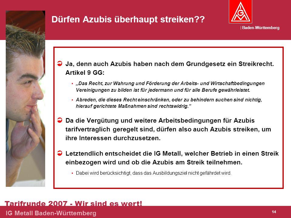 Baden-Württemberg Tarifrunde 2007 - Wir sind es wert! IG Metall Baden-Württemberg 14 Dürfen Azubis überhaupt streiken?? Ja, denn auch Azubis haben nac