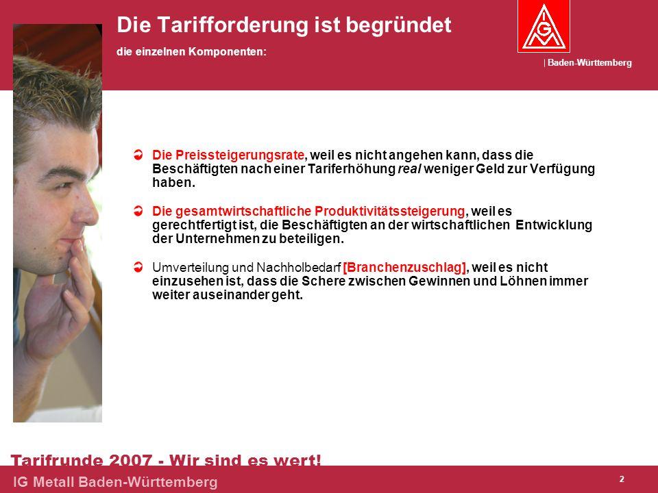 Baden-Württemberg Tarifrunde 2007 - Wir sind es wert! IG Metall Baden-Württemberg 2 Die Tarifforderung ist begründet die einzelnen Komponenten: Die Pr