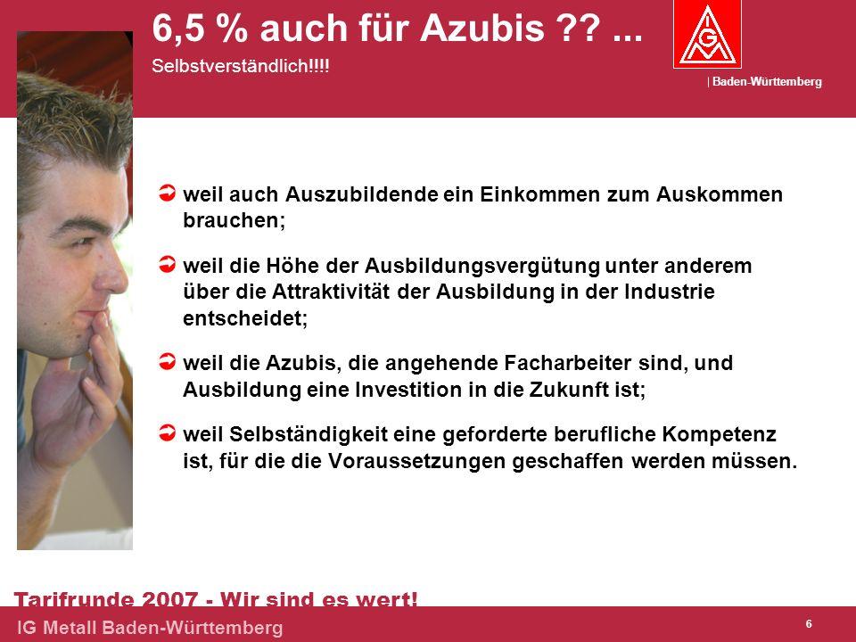 Baden-Württemberg Tarifrunde 2007 - Wir sind es wert! IG Metall Baden-Württemberg 6 6,5 % auch für Azubis ??... Selbstverständlich!!!! weil auch Auszu